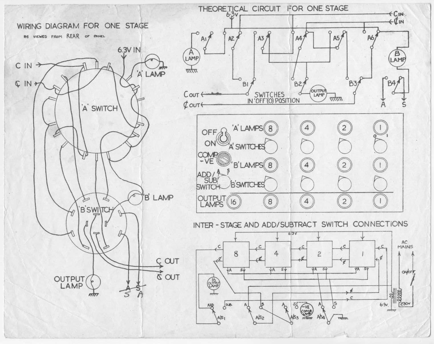 4 Bit Stage Yaxley Switched Binary Adder Subtracter 1960s Project Logic Diagram Schematic